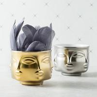Wholesale ceramic vases home decor resale online - Human Face Flowerpot Ceramics Floral Vase Modern Succulent Plants Storage Tank Home Man Women Contracted desk decor planters FFA3352