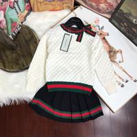 kore elbisesi giyim toptan satış-Tasarımcı Lüks İki Adet Elbiseler Çocuk Konfeksiyon Kız Sonbahar Bebek Giyim Seti 2019 Koreli çocuklar Çocuk Stil Triko Suit