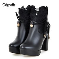 свадебные сапоги оптовых-Gdgydh 2019 Lace Ankle Boots Thick High Heeled Female Short Boots Round Toe Platform Ladies Shoes White Wedding Shoes Size 34-43