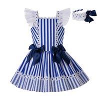 bebek mavi parti elbiseleri toptan satış-Pettigirl Yaz Yeni Parti Derin Mavi Pamuk Şerit Prenses Kızlar Için Elbiseler Ile Yay G-DMGD203-C151