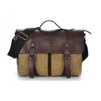 ingrosso borse in pelle per la scuola-Commercio all'ingrosso- Uomini spalla Casual Business Canvas Messenger Bag Satchel School PU Leather Bag (Colore: verde) Descrizione