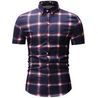 moda rahat erkek gömlekleri toptan satış-3XL moda erkek giyim rengi 25 + gündelik gömlek Boyama 2019 yazında erkekler için kısa kollu pamuklu gömlek