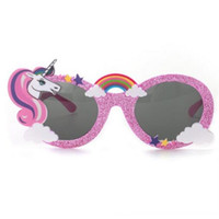 doğum günü fotoboş sahne toptan satış-Parlak Mavi Unicorn Komik Parti Kostüm Gözlük Güneş gözlüğü Maske Doğum Photobooth Dikmeler Hediye Düğün Dekorasyon Malzemeleri Şekeri