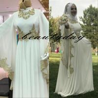 islamic seksi gelinlik toptan satış-2019 Gelinlik Mütevazı Müslüman Başörtüsü Yüksek Boyun Altın Dantel Aplikler Gelin Elbiseler Seksi İslam Gelinlikler