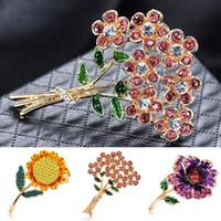 ingrosso corsi di girasole-Spille di fiori di girasole con strass in lega semplice Spille carine Spilla con smalto carino Pin per le donne Accessori moda gioielli corpetto