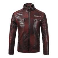 mens bikers ceket toptan satış-PU Deri Erkek Biker Ceketler Standı Yaka Uzun Kollu Kalın Tasarımcı Erkek Deri Ceket Sonbahar Erkek Baskılı Mont