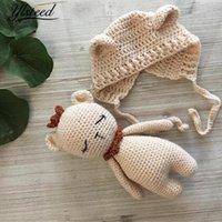 ingrosso cappello da orso infantile a crochet-Ylsteed Infant Photography Puntelli Kawaii Baby Hat Orso Bambola Set Baby Boy Puntelli Foto Crochet Costume neonato Infantile Fotoshooting