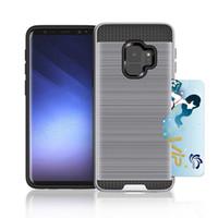 держатели металлических карт оптовых-с держателем для кредитной карты Wallet Plus Прочная броня Металлическая щетка Ударопрочный двухслойный чехол для Samsung Galaxy S9 S9 PLUS S8 S8 PLUS