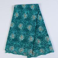 bufanda africana gele al por mayor-Tela africana del cordón francés tela del cordón del trullo verde con cuentas 2020 de alta calidad de tela de encaje bordado para vestidos de novia nigerianos BF0042