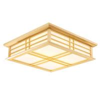 lámpara cuadrada de comedor al por mayor-OOVOV Fashion Square Estudio de madera Lámparas de techo LED Dormitorio simple Luz de techo Comedor Luces de techo