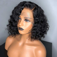 pelucas de cabello humano de moda al por mayor-Short Bob Lace Front Natural Wave Wigs 100% Brasileño Cabello humano Parte lateral Moda Sin cola Pelucas onduladas del cordón (peluca delantera del cordón 8
