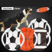Wholesale disc toys resale online - Pet Flying Disc World Cup Football Soccer basketball rugby Design Dog Agility Training Toy Creative Pets Obedience Tools AAA2234