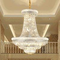 Modern Crystal Chandelier LED Light American K9 Crystal Chandeliers Lights Fixture Hotel Big Stair Project Pendant Lamp Home Indoor Lighting