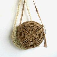 ingrosso disegno della borsa di lino-Estate nappa design fatto a mano in lino di cotone borsa da spiaggia di alta qualità tessitura borse da donna borsa circolare in paglia sacchetti avvolti bolsas