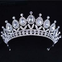 Wholesale beaded hair tiaras resale online - Kmvexo New Baroque Big Rhinestone Crystal Beaded Headband Tiara Bride Crown Luxury Wedding Korean Hair Ornaments C19022201