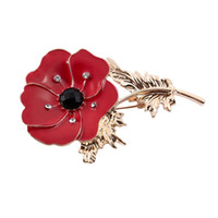 Wholesale vintage pin brooch for sale - Group buy Vintage Womens Poppy Brooch Pin Banquet Crystal Badge Flower Jewelry Red Gold