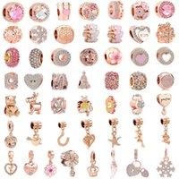 розовое розовое очарование для браслетов оптовых-Бесплатная доставка 50 шт. / лот (каждый для одного) розовое розовое золото европейский смешанный шарм шарик подходит пандора подвески браслет для женщин DIY ювелирные изделия M002