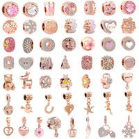 rosa rosa para pulseiras venda por atacado-O envio gratuito de 50 pçs / lote (cada um para um) pink rose gold europeu charme misto talão fit pandora encantos pulseira para as mulheres diy jóias M002