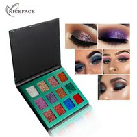 recargas de paleta de sombra de ojos al por mayor-2018 NICEFACE New Glitter Eyeshadow 12 colores Refill Palette Cosmetic Shimmer Makeup Eyes Shadow