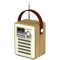 Wholesale mp3 player battery slots for sale - Group buy Clock LCD Display Aux DAB FM Portable Retro Wooden Bluetooth Digital Radio TF Card Slot Speaker Multifunctional MP3 Player