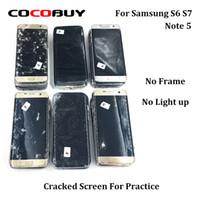 lcd ekran kırık toptan satış-Novecel 5adet Çatlak Samsung Note 5 S7 S6 No Light Up For Uygulama için Frame olmadan Kusurlu LCD Ekranı Broken