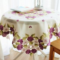фиолетовые обложки для стола оптовых-Romantic Purple Floral Table Linen,Elegant Flowers Embroidered Table Top Cover, Christmas Decoration
