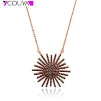 195f7ec304ce Nueva moda colgante de girasol collar de oro rosa Charm mujeres niñas collar  alta personalidad pulida joyería regalo para mamá
