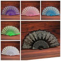Wholesale fans green resale online - Folding Hand Held Flower Fan Colors Summer Chinese Spanish Style Dance Wedding Lace Colorful Fans Party Favor OOA6938
