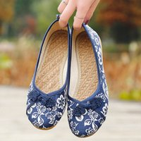 ingrosso tela ricamato scarpe cinesi-Donna Vintage Flats Autunno Femminile Tela Ethnic Chinese Knot Slip On Loafers Casual Comfort Shoes Ladies Ricamato