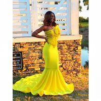 Wholesale sequin chiffon maternity dress for sale - Group buy sexy black girl mermaid plus size prom dresses long yellow long sleeve evening prom dress