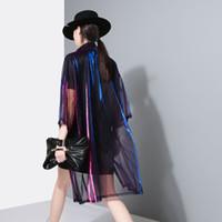 neue art hemdfarbe großhandel-Sommer Neue Farbverlauf Lose Art Midi-Länge Shirt Laser Perspektive Sonnencreme Shirt Frauen Dünne Mantel 2 Farben