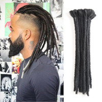 Wholesale black grey synthetic braiding hair resale online - Handmade Dreadlocks Hair Extensions Black inch Fashion Reggae Hair Hip Hop Style Strands Pack Synthetic Braiding Hair For Men