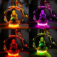Wholesale metal dragon keychain for sale - Group buy Dragon Ball Z Anime Keychain led kids props and classic gift set FPS keychain Cool metal crystal gem pendant Game Animation Accessories22