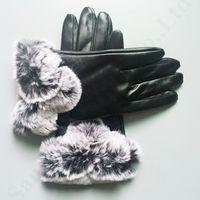 Wholesale girls glove resale online - Brand U G PU Leather Gloves Women Ladies Trendy Finger Gloves Designer Artificial Fur Australia Outdoor Winter Warm Waterproof Glove C91103