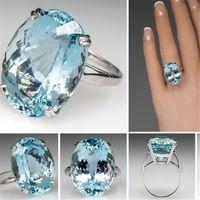 алмазный гусь оптовых-Горячая мода на помолвку с гусиным яйцом, имитация бриллиантового кольца, инкрустированного темно-синим топазом, каменное кольцо-браслет