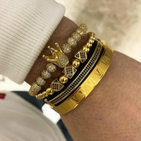 Wholesale bracelet macrame silver for sale - Group buy 3pcs set set Men Bracelet Jewelry Crown Charms Macrame Beads Bracelets Braiding Man Luxury Jewelry For Women Bracelet Gift Y19051002