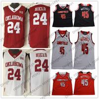 cardenales jerseys negro al por mayor-NCAA Louisville Cardinals # 45 Donavan Mitchell negro rojo blanco Jersey Oklahoma Sooners # 24 Buddy Hield Baloncesto universitario Donovan S-3XL