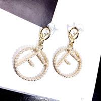 Wholesale ear stud long resale online - FF Pearl Long Tassel top Brand Designer Stud Earrings Letters Ear Stud Earring Jewelry Accessories for Women Wedding Gift