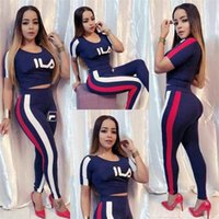 Wholesale girls brand tracksuits for sale - Group buy Luxury Women Two Piece Outfits Fils FIL Designer Tracksuit Striped T shirt Crop Tops Leggings Pants Set Brand Sportswear Suit Cloth C61807