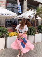 ingrosso abito rosa elefante-abiti estivi gonna rosa Ropa de mujer donne gonne di marca Estate elefante gonna a pieghe spiaggia coprire spiaggia indossare abbigliamento donna spiaggia