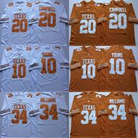 camisetas de texas al por mayor-NCAA Vintage Texas Longhorns College Camisetas de fútbol Barato 10 Vince Young 34 Ricky Williams 20 Earl Campbell University Camisetas de fútbol M-X