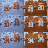 earl campbell al por mayor-NCAA Vintage Texas Longhorns College Camisetas de fútbol Barato 10 Vince Young 34 Ricky Williams 20 Earl Campbell University Camisetas de fútbol M-X