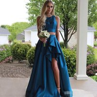 ingrosso vestito gioiello blu vestito di fessura-Blu Due pezzi abiti da damigella d'onore in raso laterale fessura gioiello collo senza maniche volant Maid of Honor abito da ballo formale usura personalizzata