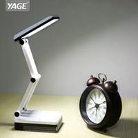 mini mesa dobrável venda por atacado-YAGE YG-5908 LED candeeiro de mesa mesa de luz Dobrável 2-modo de Escurecimento Built-in Bateria Recarregável 600 mAh Mini Leitura 16 LED Desk Lamp