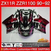 kawasaki 1991 verkleidung großhandel-Körper für KAWASAKI NINJA ZX 11R ZZR 1100 ZX-11R 1990 1991 1992 30HC.84 ZX11 R ZZR1100 ZZR-1100 rote Flammen heiß ZX-11 R ZX11R 90 91 92 Verkleidungen