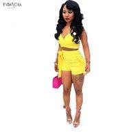mujeres combinando top shorts al por mayor-Conjunto de piezas de fajas Summer Women Crop Tops de cintura alta Dos pantalones cortos 2Pcs Ruffles Bow Outfits Ladies Yellow Slim Matching Clothes