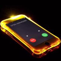 iphone artı aydınlatma çantası toptan satış-Çağıran Işık Durumda Iphone 8 7 6 Artı Ultra İnce TPU Yanıp Sönen LED Aydınlatma Gelen Gelen Hatırlatma Telefon Kapak Için Samsung S8 S9 Not 8