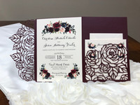 Wholesale graduations invitations resale online - Hot Sale Plum Rose Trifold Laser Cut Wedding Invitations Pearl Shimmy Pocket Wedding Invite Burgundy Wedding Invitation Jackets with Belt
