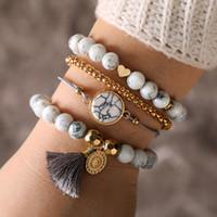 Wholesale bracelet pendant set online - Fashion Bohemian Marble Beads Bracelets Set Natural Stone Tassel Pendant Charm Bangle Adjustable Layered Bracelet Women Jewelry M261F
