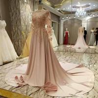 ingrosso abiti rosa morbidi lunghi gioielli-Morbido 2019 Prom Abiti gioiello collo manica lunga arabo pizzo Appliqued abito formale abiti da sera Robe De Soiree abito formale